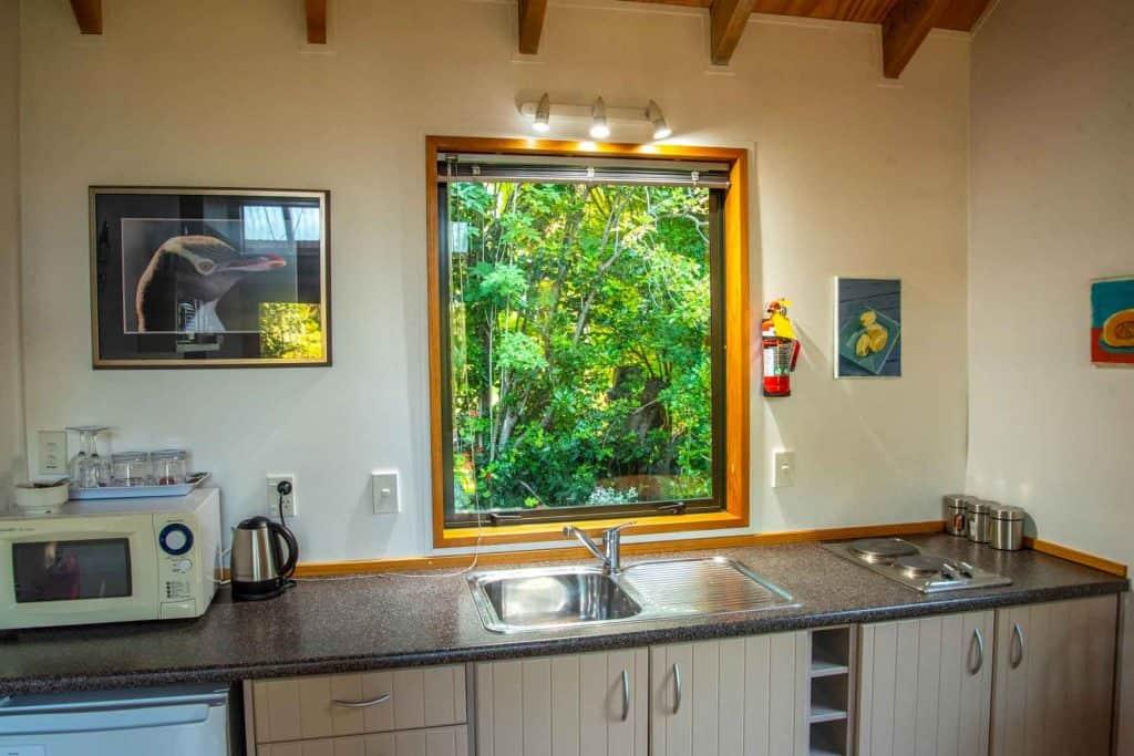 Kitchen of Bellbird cottage accommodation in Dunedin