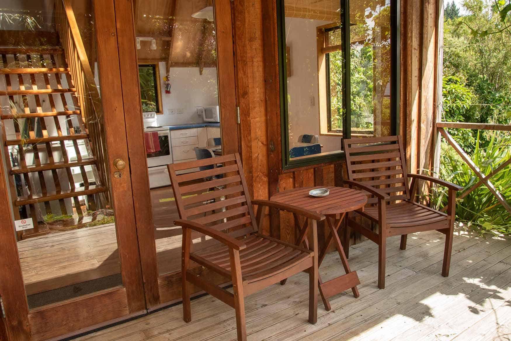 Veranda of Fantail cottage accommodation in Dunedin