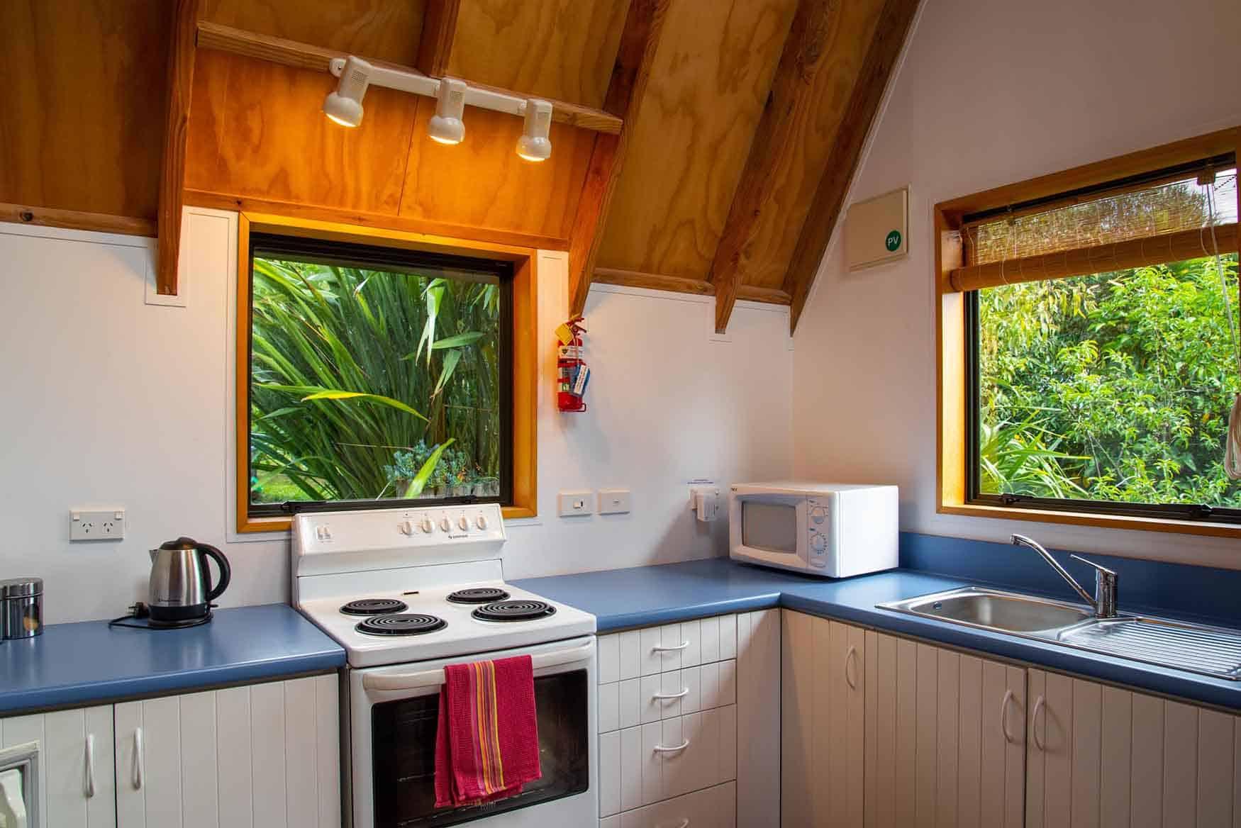 Kitchen of Fantail cottage accommodation in Dunedin