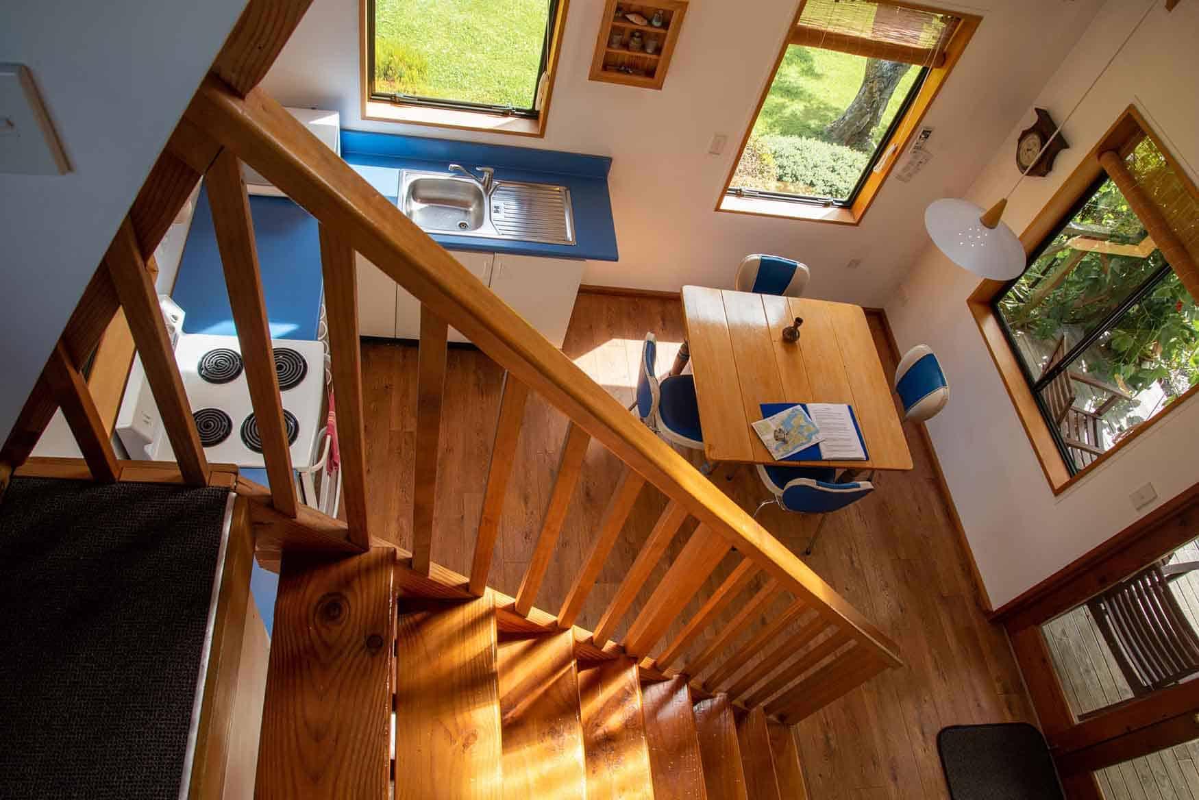 Mezzanine floor of Fantail cottage accommodation in Dunedin