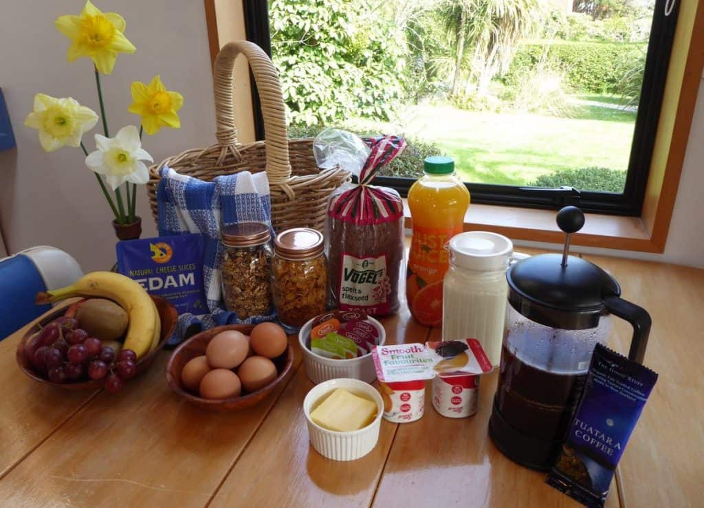 Continental breakfast hamper for two at Fantail Lodge